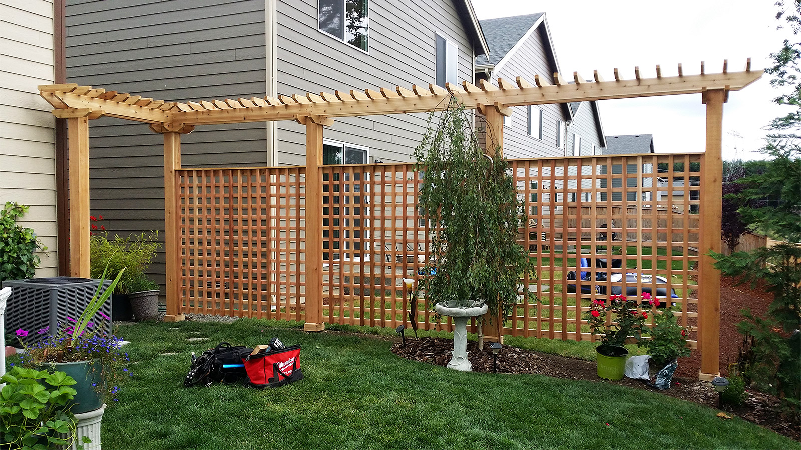 Grid Style Cedar Fence with Trellis Above