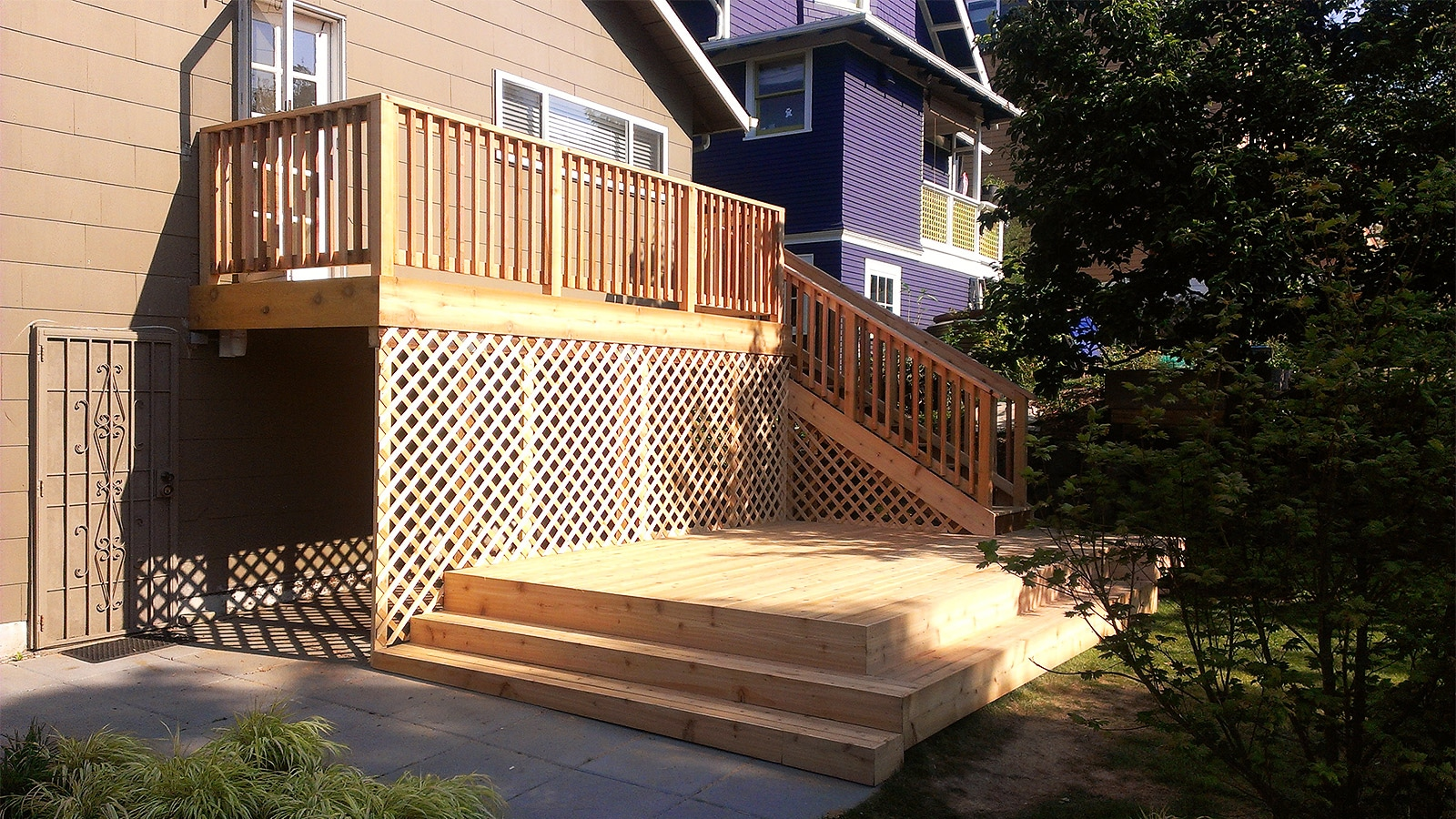 Two Level Cedar Deck with Stairs and Lattice